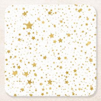 Golden Stars2 -Pure White- Square Paper Coaster