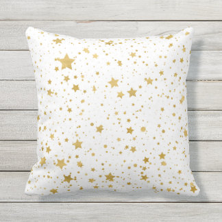 Golden Stars2 -Pure White- Throw Pillow