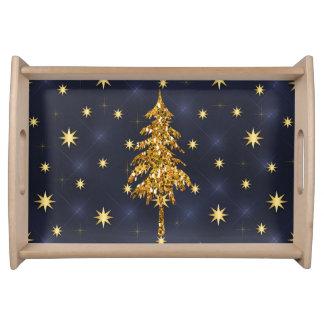Golden Stars & Christmas Tree Midnight Blue Serving Tray