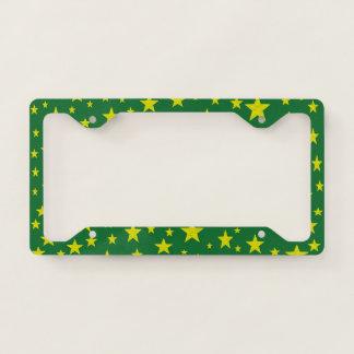 Golden Stars Green License Plate Frame
