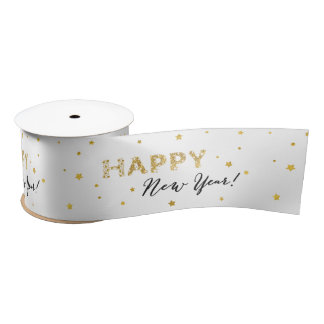 Golden Stars - Happy New Year Satin Ribbon