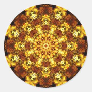 Golden Stars Mandala Classic Round Sticker