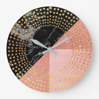 Golden Stars Marble Black Glitter Pink Rose Gold Large Clock