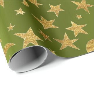Golden Stars Moon Sky Metallic Greenly Cali Wrapping Paper