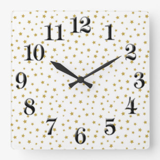 Golden Stars Nursery Square Clock