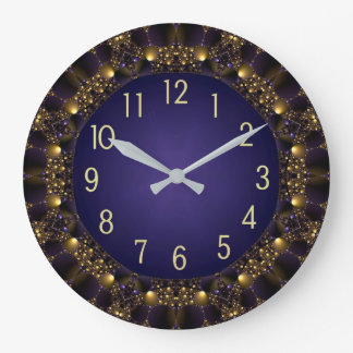 Golden Stars on-deep Blue sky Round Wall Clock