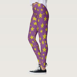 Golden Stars Purple Leggings
