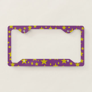 Golden Stars Purple License Plate Frame