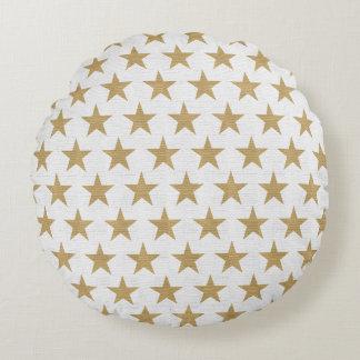 Golden stars round pillow