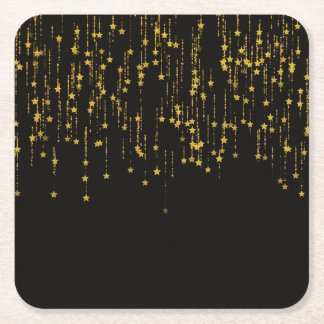 Golden Stars Square Paper Coaster
