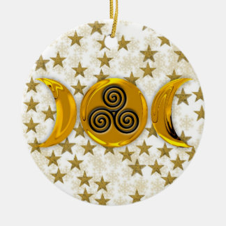 Golden Stars Triple Moon Snowflakes-Triple Spiral Round Ceramic Ornament