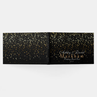 Golden Stars Wedding Guest Book-black Guest Book