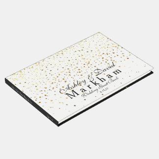 Golden Stars Wedding Guest Book-Black & White Guest Book