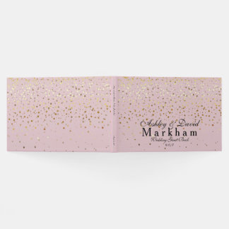 Golden Stars Wedding Guest Book-Dusty Rose Pink Guest Book