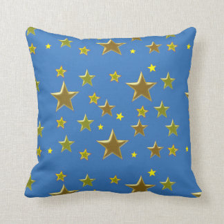 golden stars with blue background throw pillow