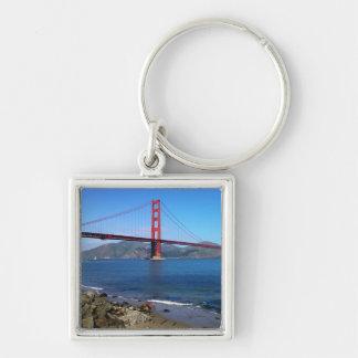 Golden State Bridge - San Francisco, California Silver-Colored Square Keychain