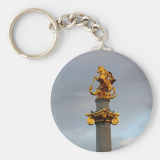 Golden Statue Of Saint George, Republic Of Georgia Basic Round Button Keychain