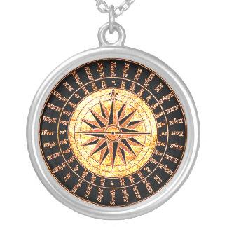 Golden Steampunk Compass Face Necklace