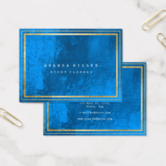 Golden Stripes Framed Minimal Cobalt Blue Glass Business Card