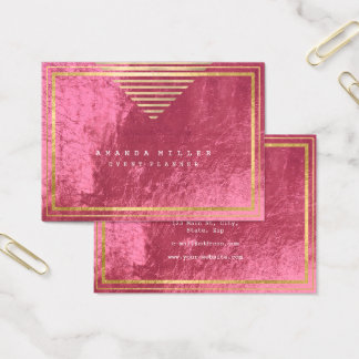 Golden Stripes Framed Minimal Geometry Pink Rose Business Card