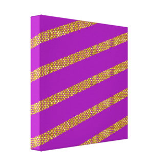 Golden Stripes On Purple Background Canvas Print