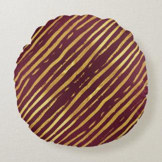 Golden Stripes Purple Passion Round Throw Pillow