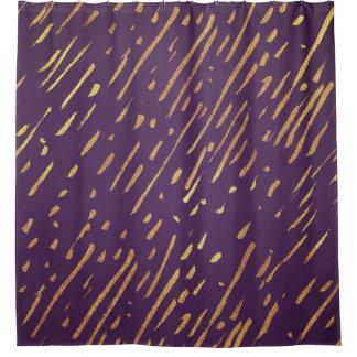 Golden Stripes Purple Passion Shower Curtain