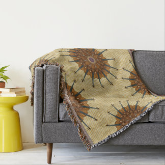 Golden Stripes with Violin Sunflowers Throw Blanket