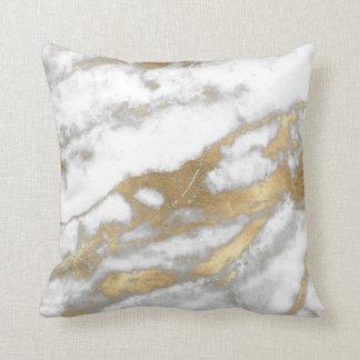 Golden Strokes Metallic Glitter Marble Gray Stone Throw Pillow