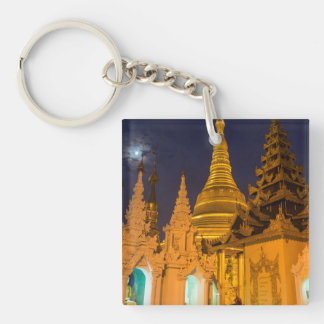Golden Stupa And Temples Keychain