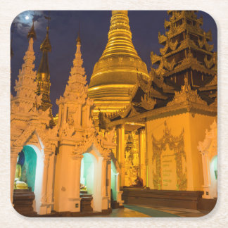 Golden Stupa And Temples Square Paper Coaster