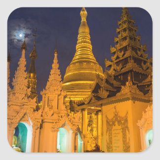 Golden Stupa And Temples Square Sticker