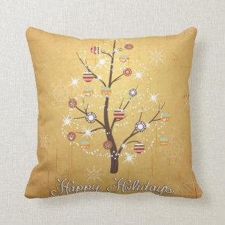 Golden Stylized Holiday Tree Throw Pillow