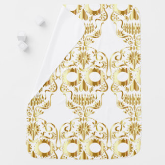Golden Sugar Skull Design Baby Blanket
