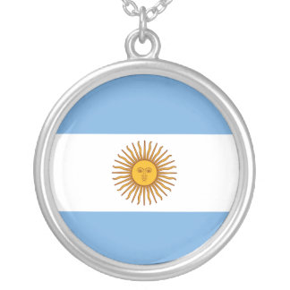 Golden Sun Argentina Flag Silver Plated Necklace