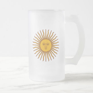 Golden Sun of May Argentina Flag Drinks Glass Frosted Glass Beer Mug