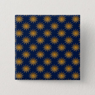 Golden Sun Pattern by Shirley Taylor 2 Inch Square Button