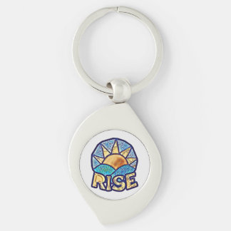Golden Sun Rise ~ Uplifting Message Silver-Colored Swirl Keychain