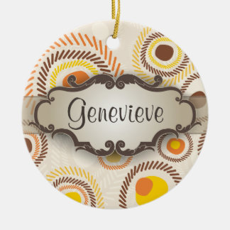 Golden Sunbursts with Nameplate Round Ceramic Ornament