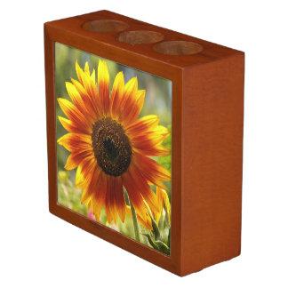 Golden Sunflower Floral Desk Organizer