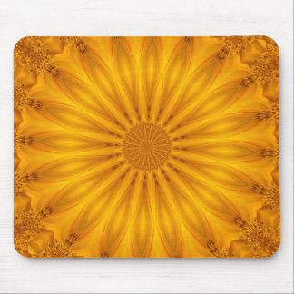 Golden Sunflower Kaleidoscope Mouse Pad