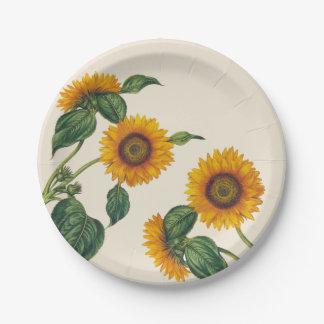 "Golden Sunflowers Botanical Paper Plate 7"""