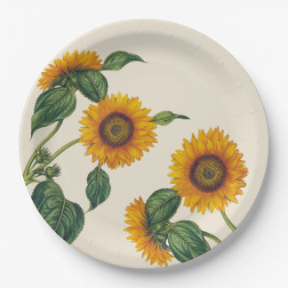 "Golden Sunflowers Botanical Paper Plate 9"""