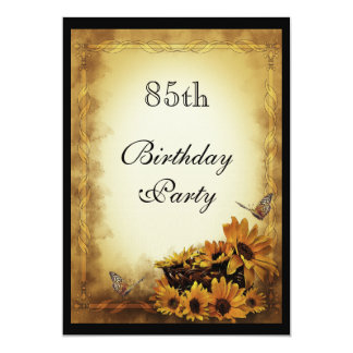 "Golden Sunflowers & butterflies 85th Birthday 5"" X 7"" Invitation Card"