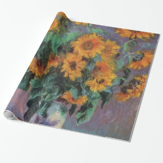 Golden Sunflowers Impressionism Wrapping Paper