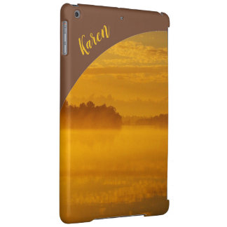 Golden sunrise IPad case with name - brown