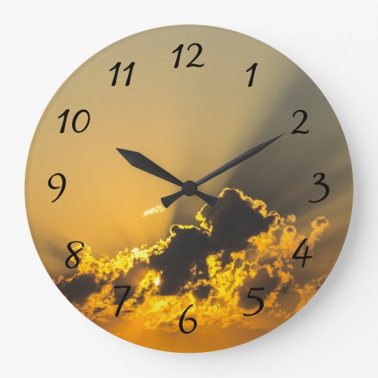Golden Sunset Illuminating a Cloud Wall Clocks