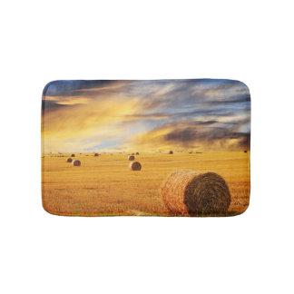 Golden Sunset Over Farm Field Bath Mat