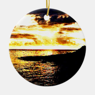 Golden Sunset Over the Water in Dominica Round Ceramic Ornament