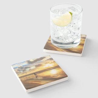 Golden Surf Sunset Stone Coaster